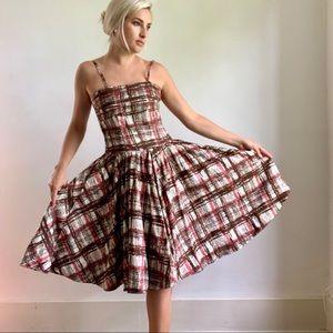 Anthropologie Elevenses Plaid Dress Pink Brown M